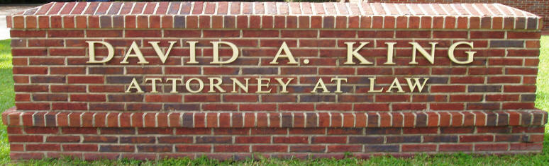 David A. King Brick Sign